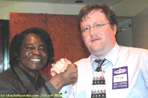 James Brown with Chuck Miller, photo taken in 2005. Photo by Chuck Miller.