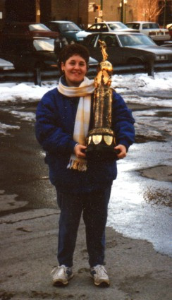 Vicki Miller holds the Atlantic City Boardwalk Trophy.  Photo by Chuck Miller.